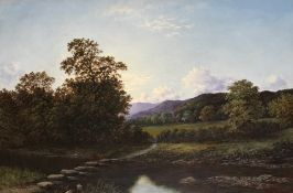 "Original oil painting ""River Crossing , Scottish Highland View, by British artist S J Vernon 1868"