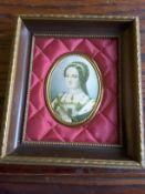 Framed Miniature Portrait Of Lady Jane Grey