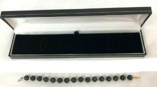 Gold Black Jade Bead Bracelet