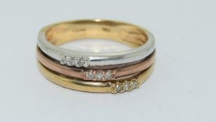 9Ct Three Gold & Diamond Ring