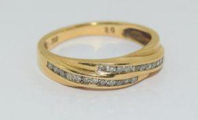 18Ct Yellow Gold Diamond 2 Tier Cross Band Ring