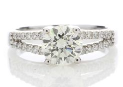 18ct White Gold Solitaire Diamond Ring With Two Rows Shoulder Set 1.75 Carats