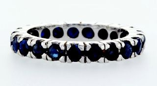 14 kt. White gold -Eternity Ring - 0.90 ct Sapphire
