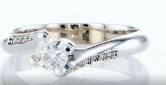 14 kt. White gold - Ring - 0.30 ct Diamond - Diamonds