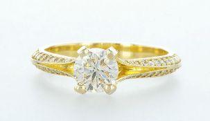 18 kt. Yellow gold - Ring - 1.22 ct Diamond - Diamonds