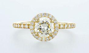 14 kt. Yellow gold - Ring - 1.07 ct Diamond - Diamonds