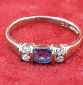 9ct (375) Yellow Gold Blue & White Stone Dress Ring