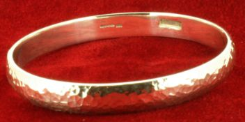 Sterling Silver Hammer Finished Handmade Round Bangle - 6.5mm Wide