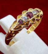 Vintage 18ct (750) Yellow Gold Ruby & Diamond Ring