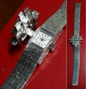Ladies Vintage .375 9ct White Gold Bueche Girod Ladies Cocktail Watch - 38.9g