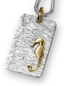 9ct (375) Yellow Gold, Diamond & Silver Seahorse Pendant on Snake Chain Necklace