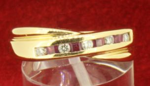 18ct 750 Yellow Gold Ruby and Diamond Channel Set Crossover Eternity Ring