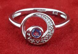 9ct (375) White Gold Tanzanite & Diamond Swirl Ring