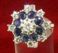 18ct 750 White Gold Sapphire and Diamond Large Cluster Style Ring
