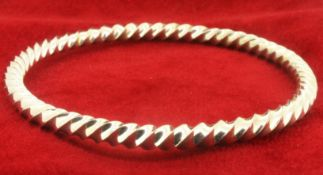 Solid Sterling Silver Handmade Round Twisted Bangle