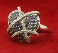 18ct 750 White Gold Heart Shaped Sapphire and Diamond Cocktail Ring