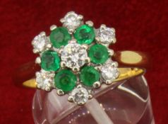 18ct 750 Yellow Gold Emerald and 0.52ct Diamond Cluster Ring