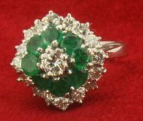 White Metal 1.15ct Diamond and Emerald Cluster Ring