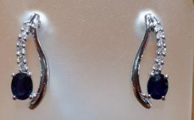 9ct (375) White Gold Sapphire & Diamond Stud Drop Earrings