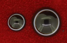 Two (2) Round Banded Agate Loose Gemstones - 9.8mm/3.55ct & 16.5mm/11.6ct