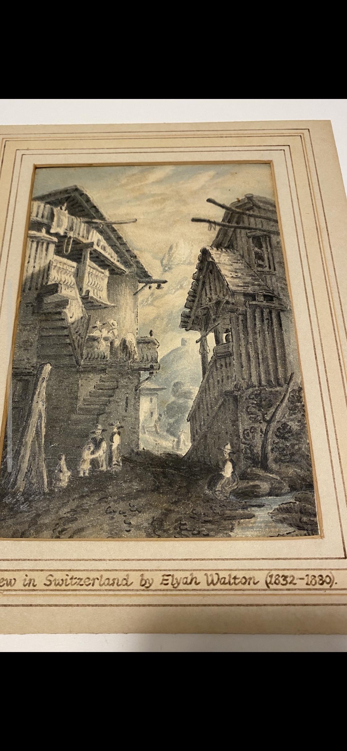 VIEW IN SWITZERLAND BY ELYAH WALTON 1832-1880