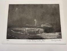 Dave Gunning Limited Edition Etching, London Bridge and Big Ben 1992.