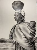 Original painting Sotho Woman And Child by M J Van Der Westhuizen 1991.