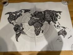 Faye Halliday Limited Edition Print World Map A1