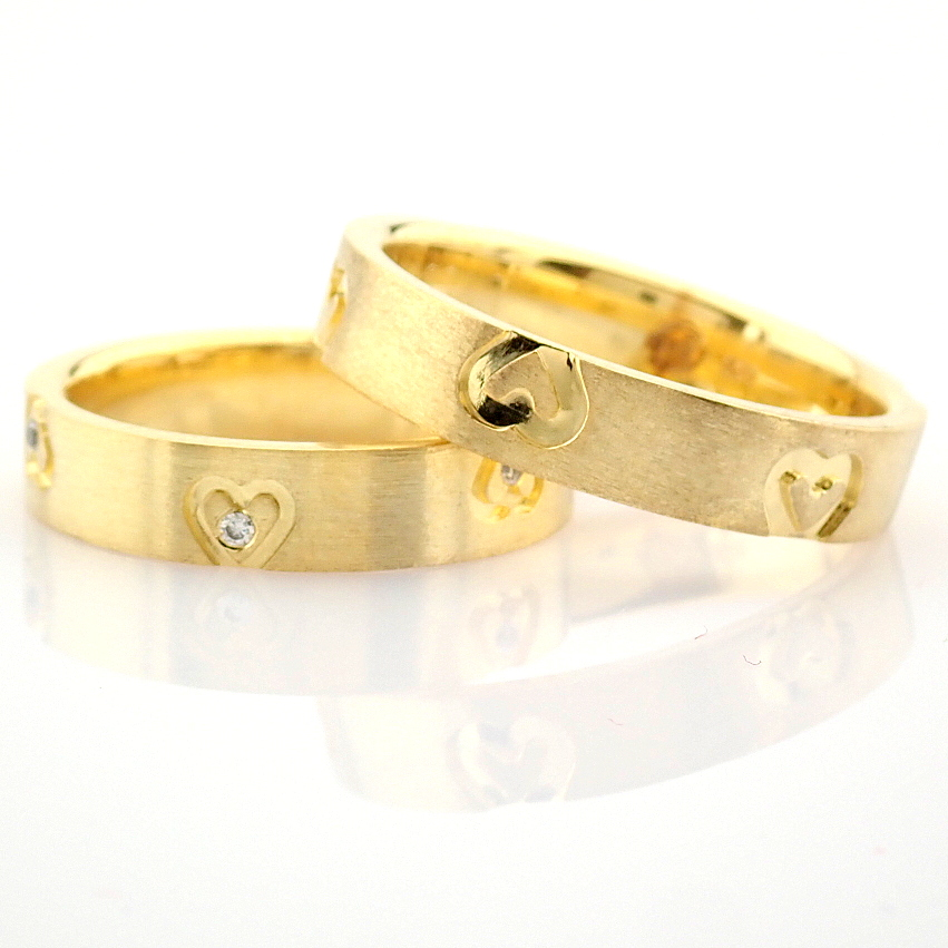 14K Yellow Gold Engagement Ring, For Couple