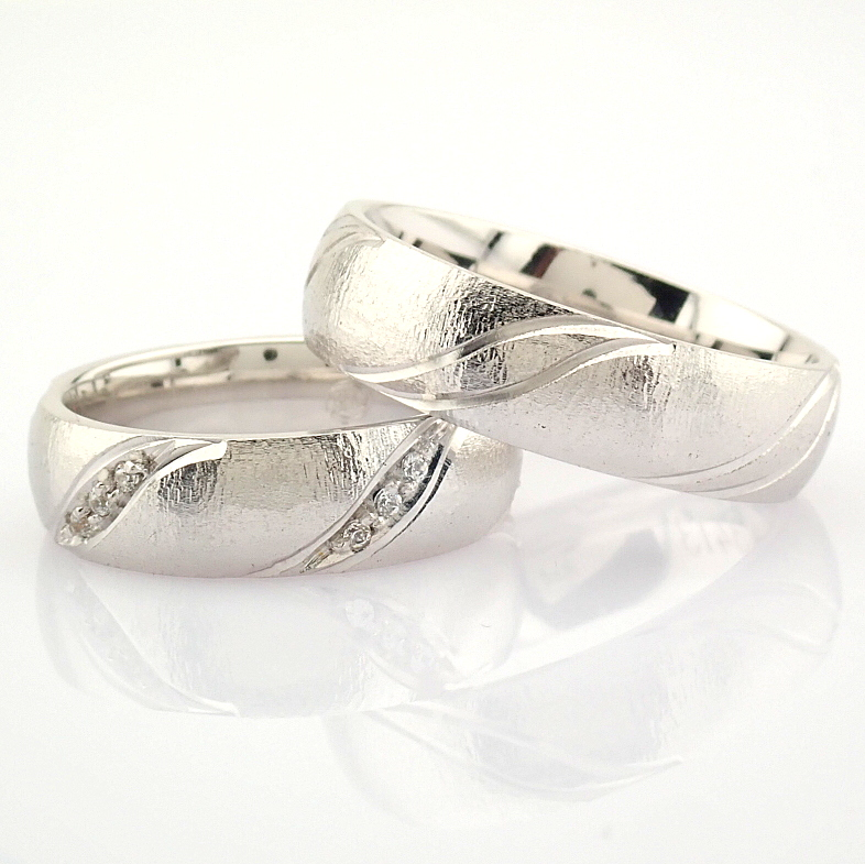 14K White Gold Engagement Ring, For Couple