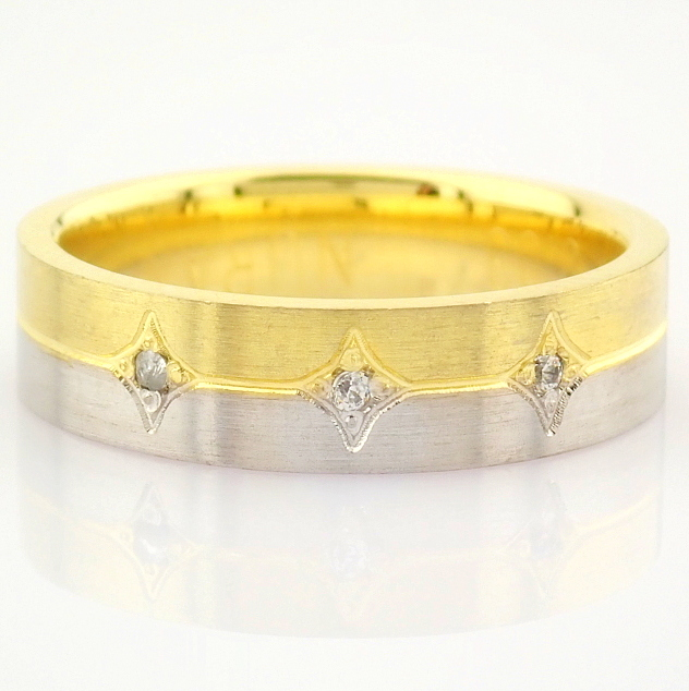 14K Yellow and White Gold Engagement Ring, For Couple - Image 5 of 6