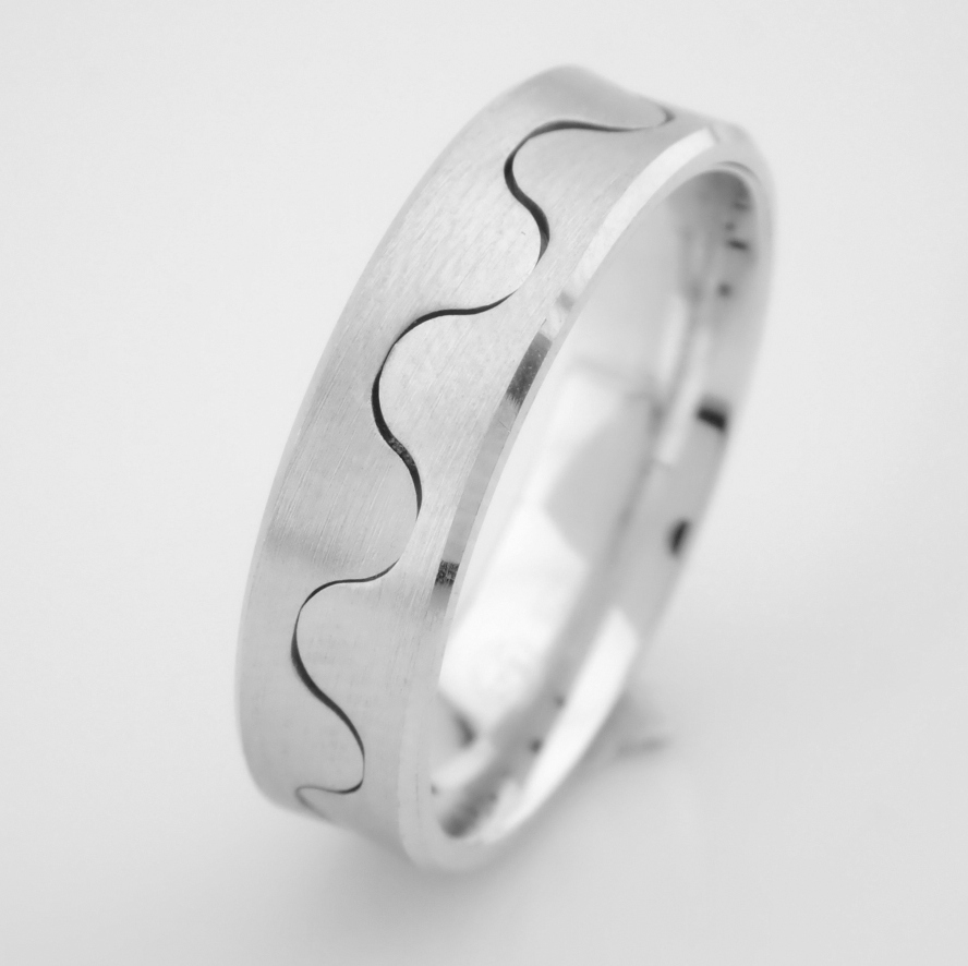 14K White Gold Engagement Ring, For Him