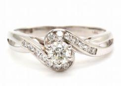 18ct White Gold Twist Diamond Ring 0.54 Carats