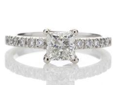 Platinum Stone Set Shoulders Diamond Ring 0.91 Carats