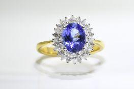 Oval Tanzanite & Diamond Ring