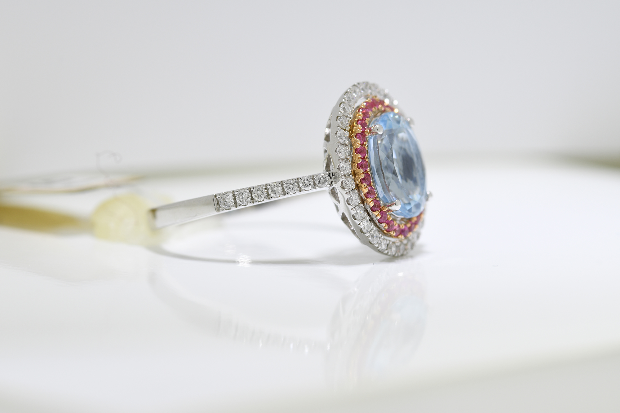 Aquamarine, Pink Sapphire & Diamond Ring - Image 2 of 3