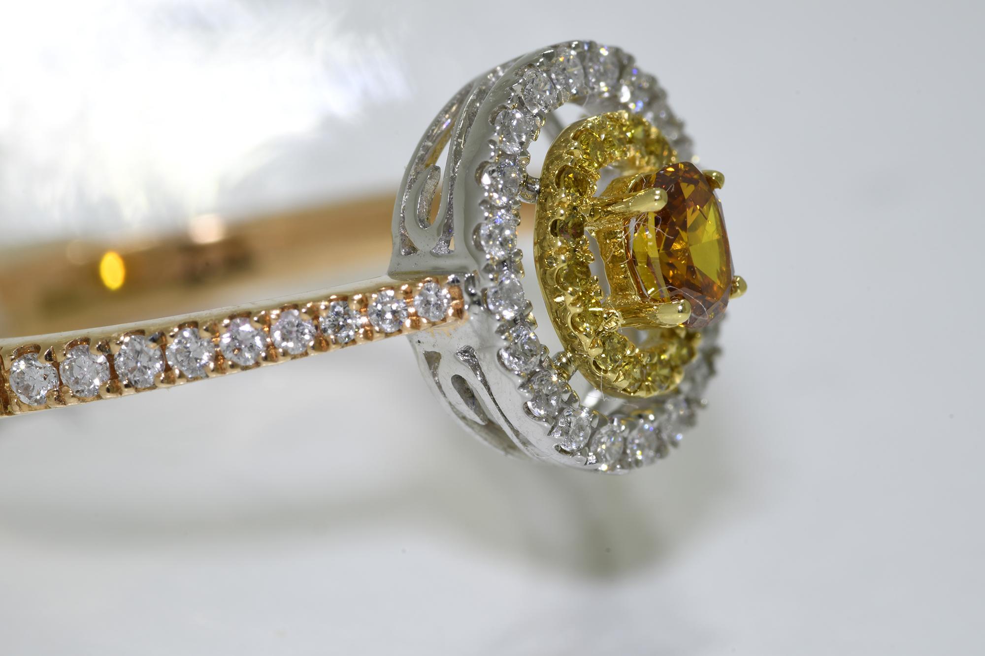 Oval Cognac Diamond Ring - Image 3 of 4