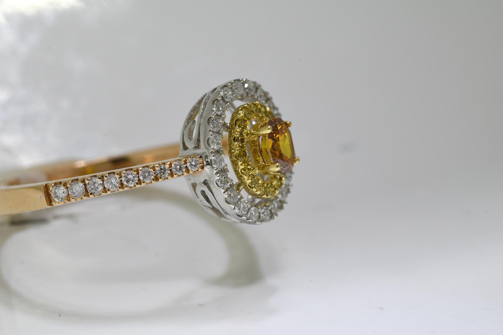 Oval Cognac Diamond Ring - Image 2 of 4