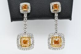 Cognac, White & Yellow Diamond Earrings