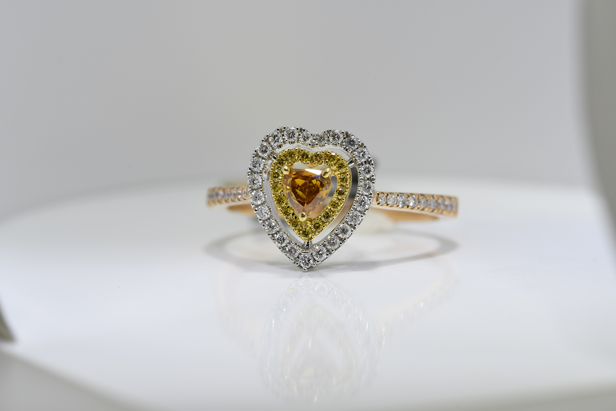 Heart Shaped Cognac Diamond Ring