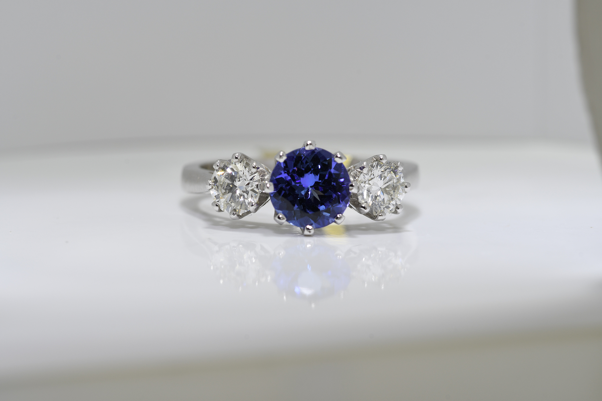Round Tanzanite & Diamond Ring