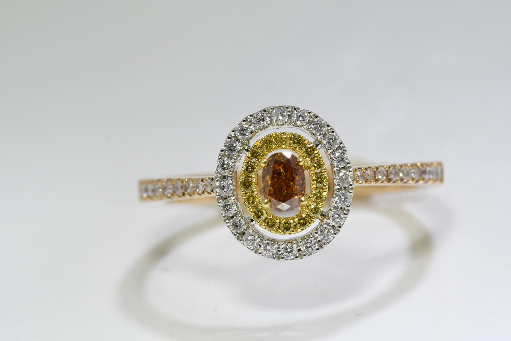 Oval Cognac Diamond Ring
