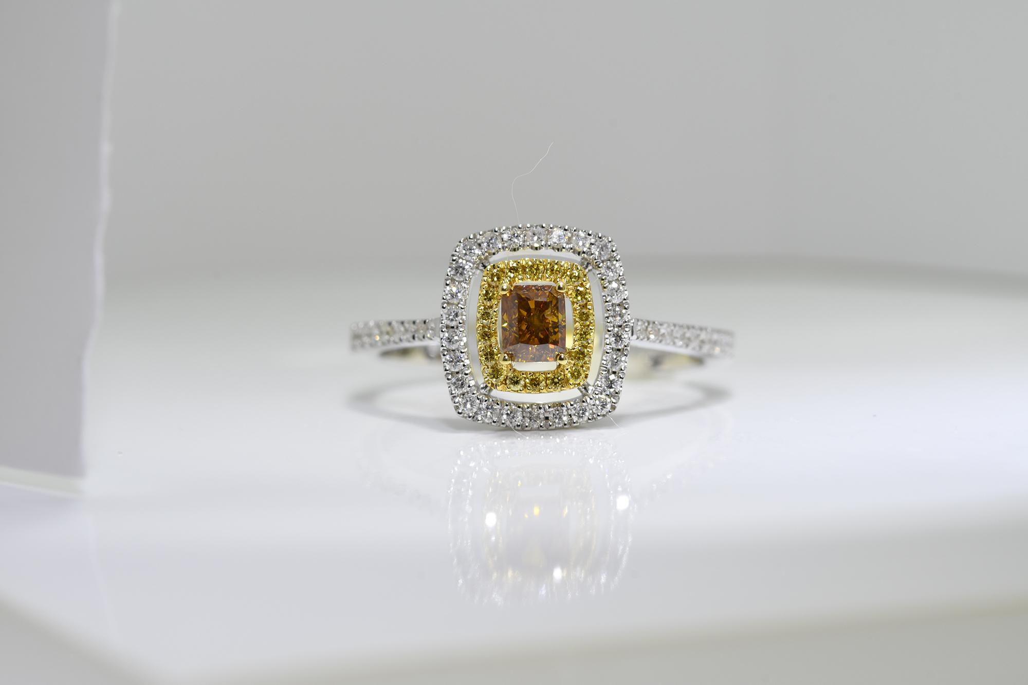 Square Cognac Diamond Ring
