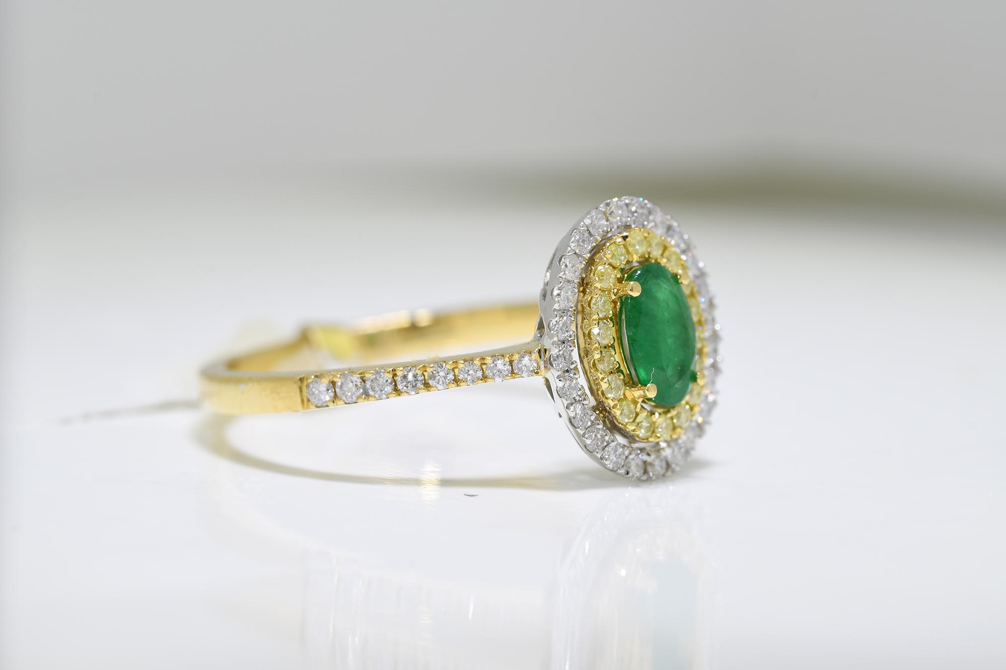 Emerald, Yellow & White Diamond Ring