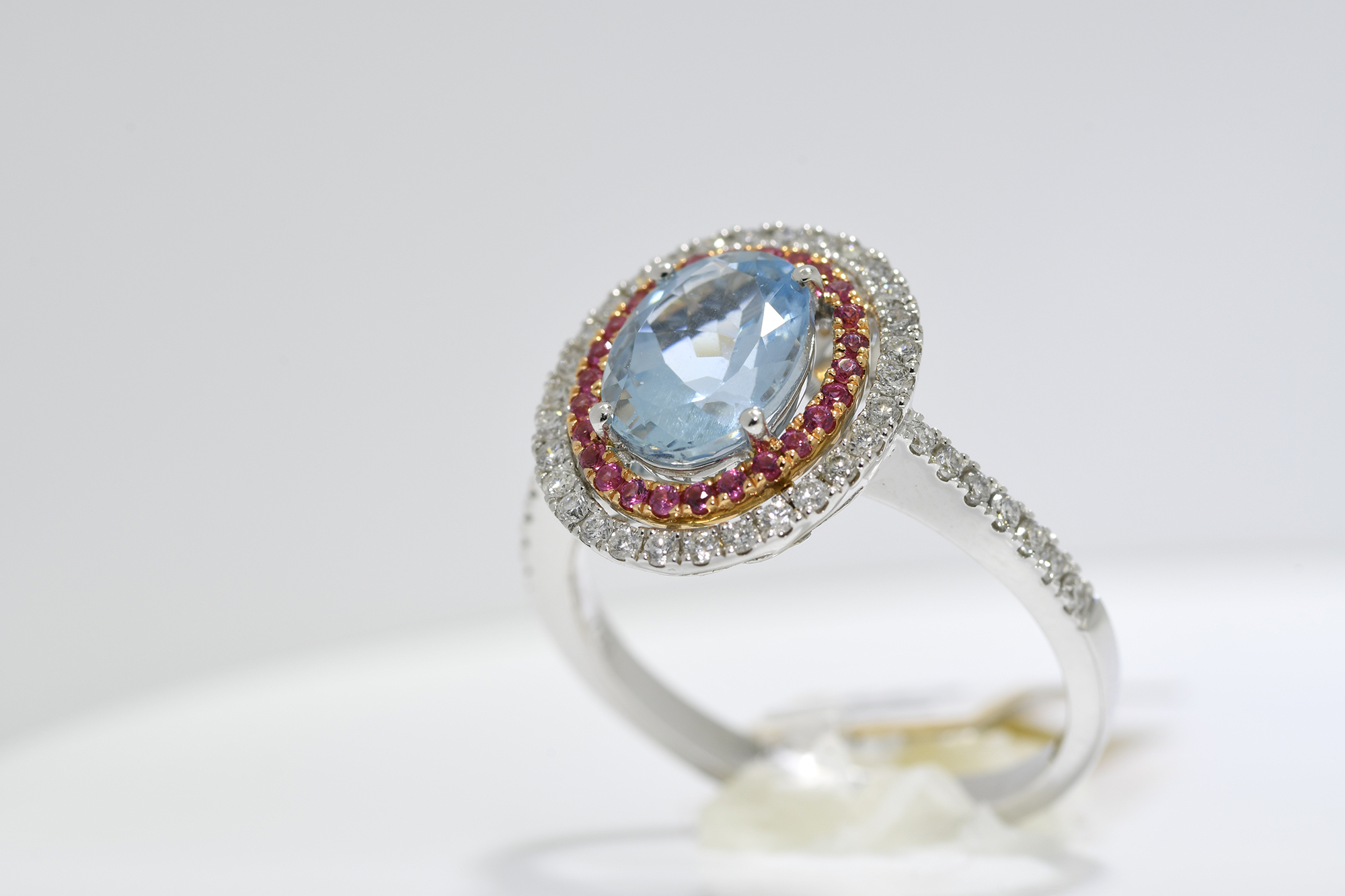 Aquamarine, Pink Sapphire & Diamond Ring - Image 3 of 3