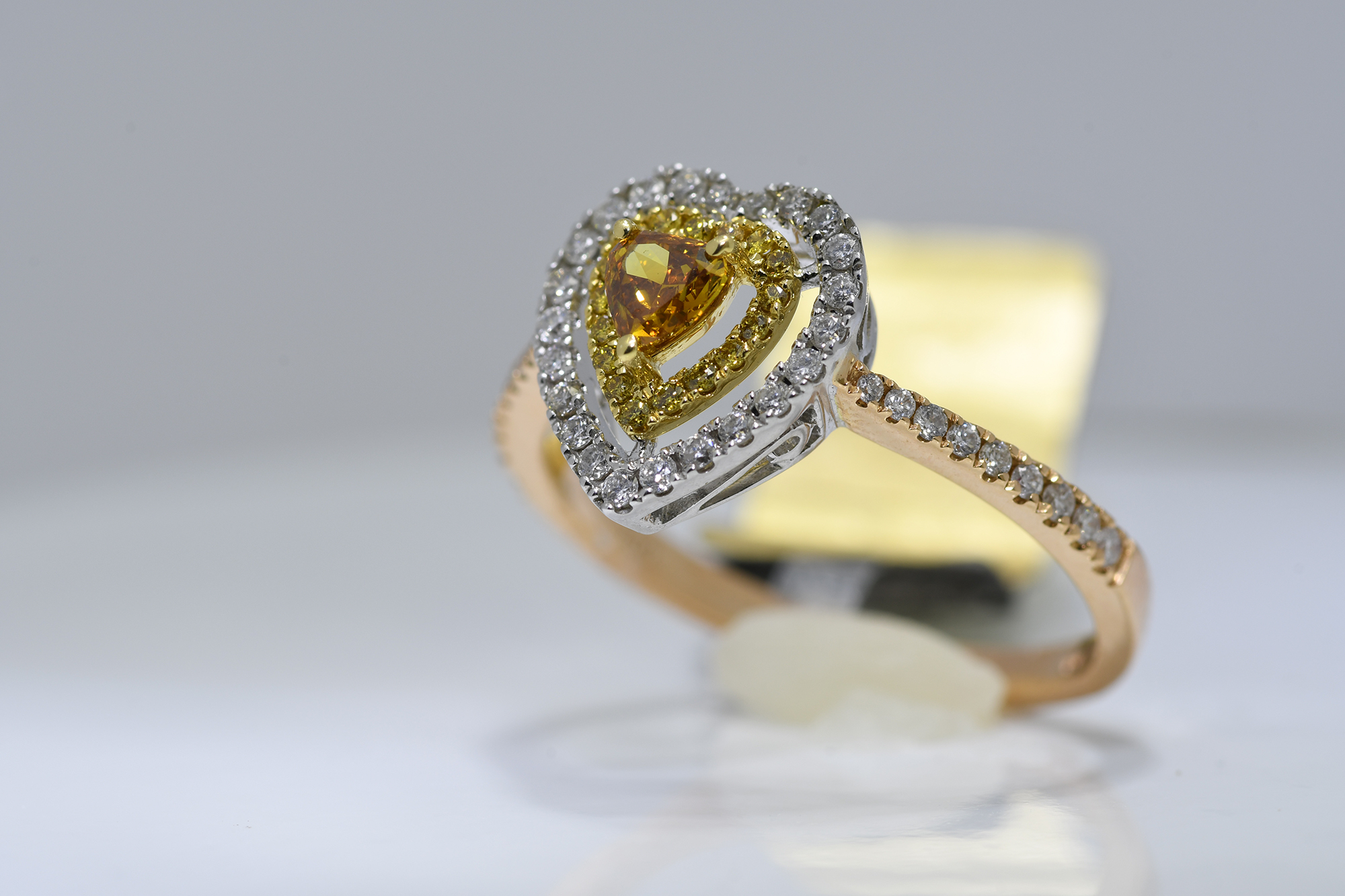 Heart Shaped Cognac Diamond Ring - Image 3 of 3