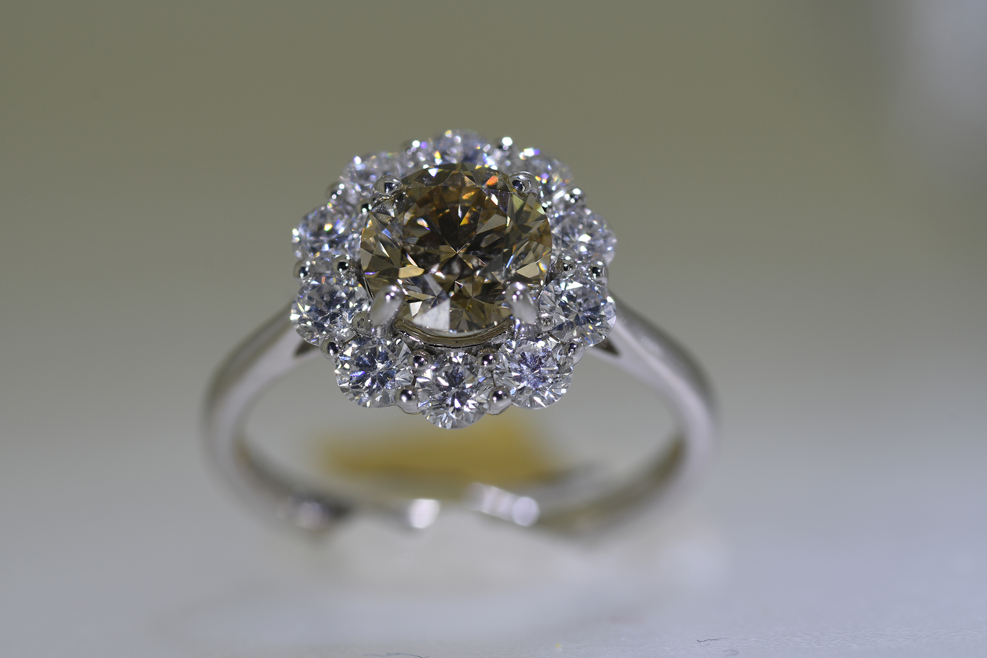 Cognac & White Diamond Ring