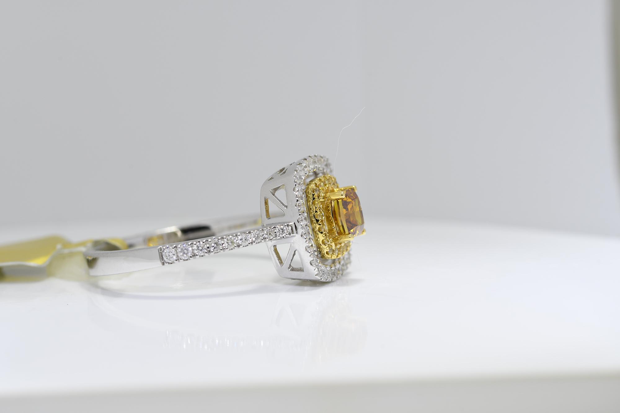 Square Cognac Diamond Ring - Image 2 of 3