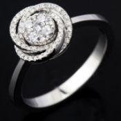 14 kt. White gold - Ring - 0.19 ct Diamond