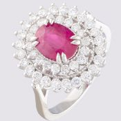 14K White Gold Cluster Ring 1.90 ct Natural Rubby - 1.00 ct Diamond